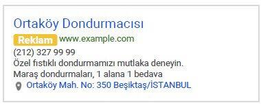 Google AdWords Reklam Yer (Adres) Uzantısı